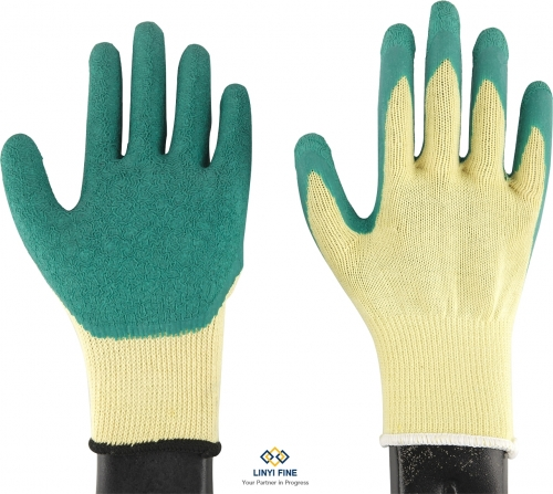 10G 5threads cotton lining latex coated gloves