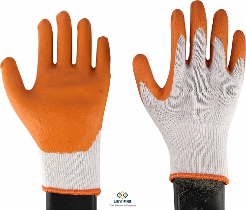 10G 2 threads cotton lining latex coated gloves with smooth surface