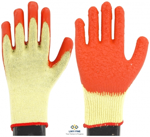 10G 2 threads cotton lining latex coated gloves